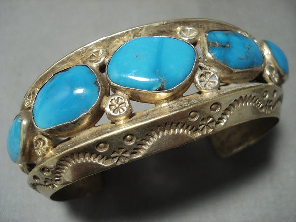 134 Gram Gold Solid Sterling Blue Carico Lake Turquoise Native American Jewelry Silver Bracelet