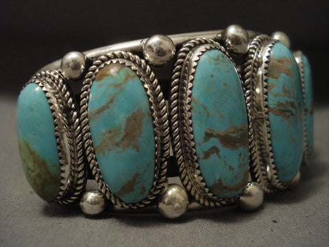 136 Grams Super Heavy Vintage Navajo #8 Turquoise Native American Jewelry Silver Bracelet-Nativo Arts