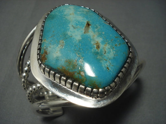 136 Grams Vintage Navajo Deep Blue Turquoise Sterling Native American Jewelry Silver Bracelet Old Pawn-Nativo Arts