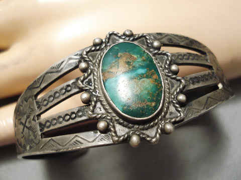Early 1900s Vintage Native American Navajo High Grade Royston Turquoise Sterling Silver Bracelet