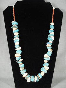 138 Grams Vintage Navajo Native American Jewelry jewelry Turquoise Spiny Oyster Necklace-Nativo Arts
