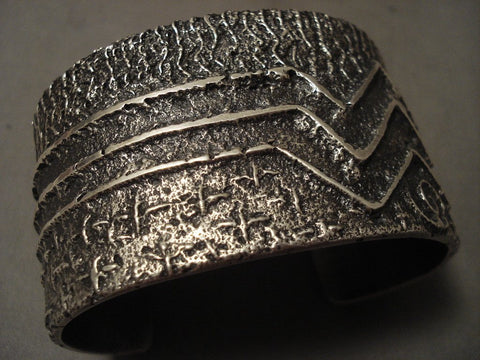 139 Grams Heavy Stars Of The Sky Navajo Native American Jewelry Silver Bracelet-Nativo Arts