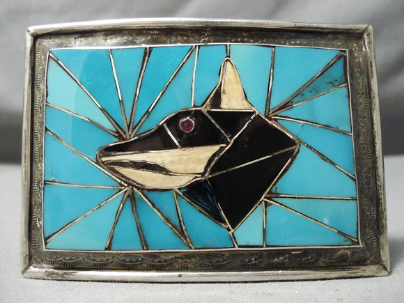 Museum Vintage Native American Navajo Turquoise Inlay Bod Sterling Silver Buckle Old