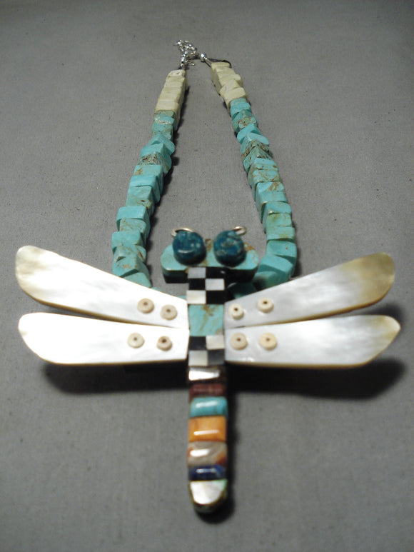 Native American Biggest Best Vintage Santo Domingo Turquoise Dragonfly Sterling Silver Necklace