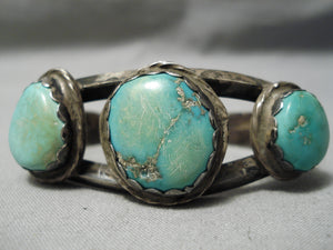 Thick Sturdy Vintage Native American Navajo Green Turquoise Sterling Silver Bracelet Old