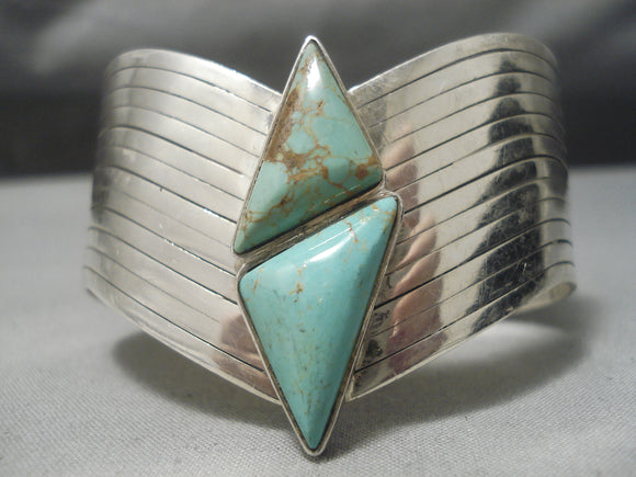 Incredible!! Vintage Native American Navajo Royston Turquoise Sterling Silver Bracelet