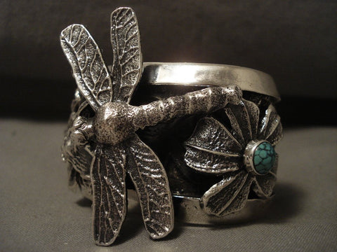 146 Gram 'Flying Dragonfly' Navajo Native American Jewelry Silver Turquoise Bracelet-Nativo Arts