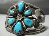 Important Vintage Native American Navajo Mary Morgan Turquoise Sterling Silver Bracelet Old