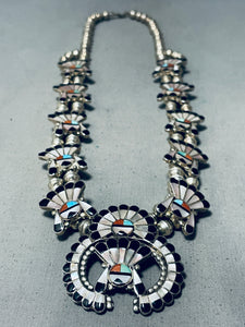 Intricate Women's Vintage Native American Zuni Turquoise Sterling Silver Squash Blossom Necklace