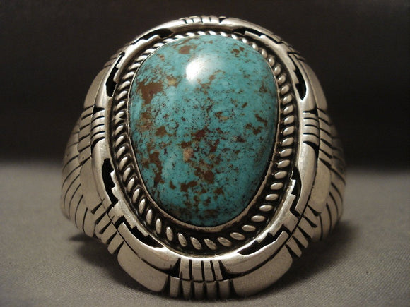 148 Gram Heavy Old Ivanhoe Turquoise Native American Jewelry Silver Bracelet-Nativo Arts
