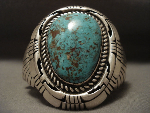 148 Gram Heavy Old Ivanhoe Turquoise Native American Jewelry Silver Bracelet