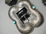 Native American Early Highly Detailed Sterling Silver Turquoise Concho Belt Old