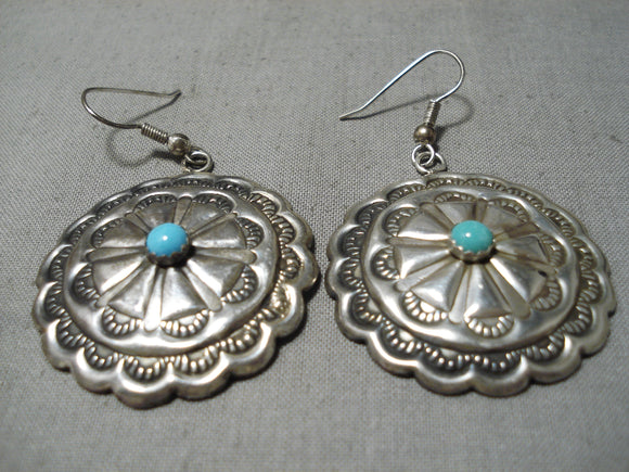 Incredible Vintage Native American Navajo Sleeping Beauty Turquoise Sterling Silver Earrings