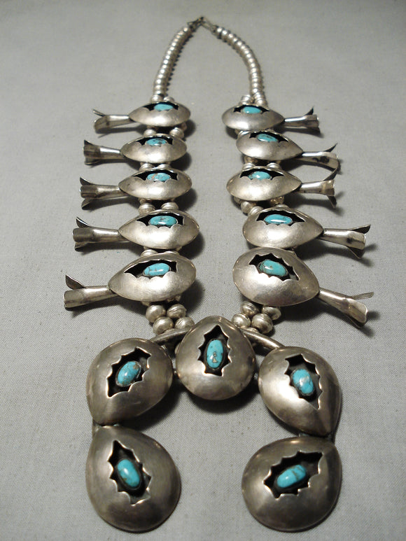 Museum Vintage Native American Navajo Arrowhed Sterling Silver Turquoise Squash Blossom Necklace