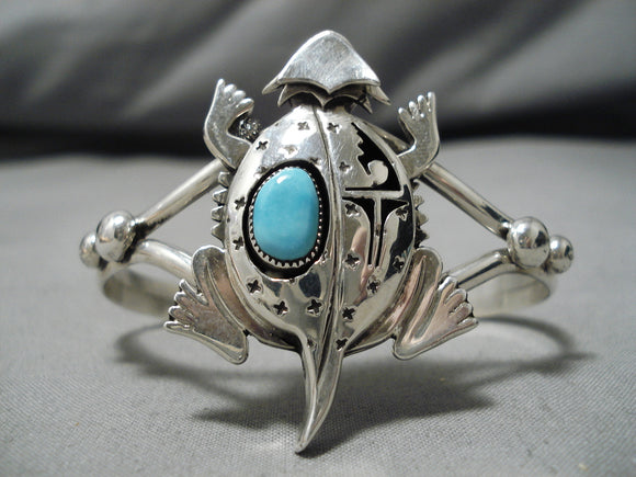 Magnificent Native American Navajo Horned Kachina Turquoise Nel Morton Sterling Silver Bracelet