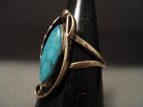 14k Gold Vintage Navajo Native American Jewelry jewelry Blue Diamond Turquoise Ring Old-Nativo Arts