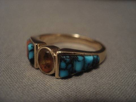 14k Gold Vintage Navajo Native American Jewelry jewelry Lone Mountain Turquoise Gold Ring Old Vtg-Nativo Arts