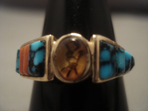 14k Gold Vintage Navajo Native American Jewelry jewelry Lone Mountain Turquoise Gold Ring Old Vtg