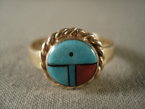 14k Gold Zuni Turquoise Sun Ring-Nativo Arts