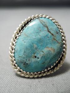 Amazing Vintage Native American Navajo Blue Diamond Turquoise Sterling Silver Ring