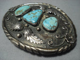 151 Gram Vintage Navajo Turquoise Sterling Native American Jewelry Silver Buckle Old-Nativo Arts