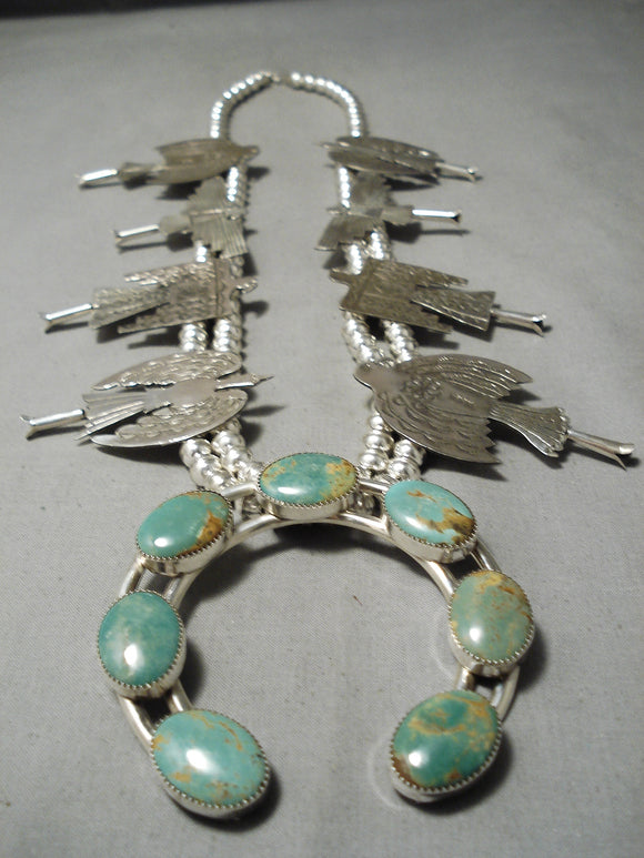 Highly Detailed Native American Navajo Green Turquoise Sterling Silver Squash Blossom Necklace