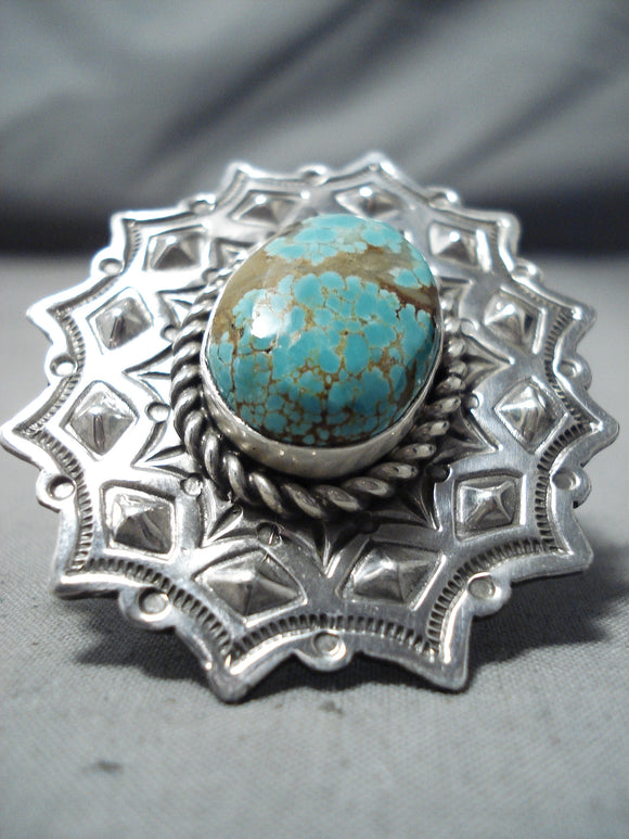 Amazing San Felipe Native American 8 Turquoise Sterling Silver Ring