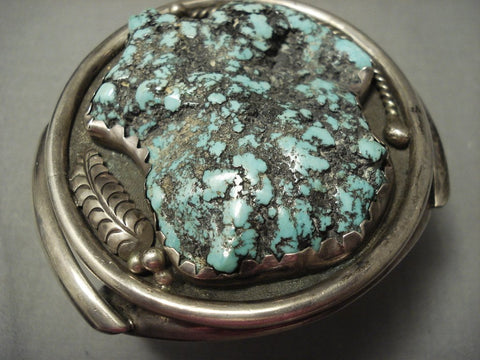 "153 Gram Vintage Navajo """"turquoise Boulder"""" Native American Jewelry Silver Bracelet Old-Nativo Arts"