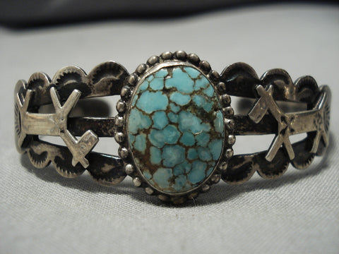 Amazing Early 1900's Vintage Native American Navajo Sterling Silver Spiderweb Turquoise Bracelet