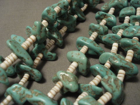 155 Gram Older Vintage Navajo Native American Jewelry jewelry Green Turquoise Necklace-Nativo Arts