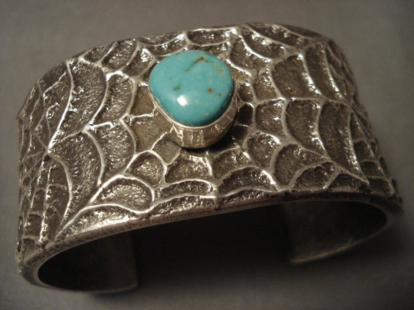 155 Grams Ultra Incredibly Detailed Navajo Turquoise Native American Jewelry Silver 'Web' Bracelet