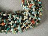 156 Gram Navajo Native American Jewelry jewelry Natural Green Turquoise Coral *tight Braid* Necklace-Nativo Arts