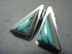Intricate Triangle Vintage Native American Zuni Turquoise Sterling Silver Teepee Earrings