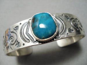 Important Navajoblue Diamond Turquoise Sterling Silver Bracelet