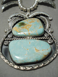Best Vintage Native American Navajo #8 Turquoise Sterling Silver Squash Blossom Necklace