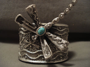 162 Grams Absolutely Incredible Navajo Dragonfly Turquoise Native American Jewelry Silver Bracelet-Nativo Arts