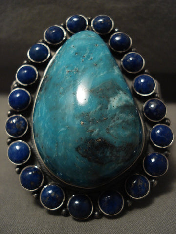 167 Grams Monster Important Ben Begaye Turquoise Lapis Native American Jewelry Silver Bracelet-Nativo Arts