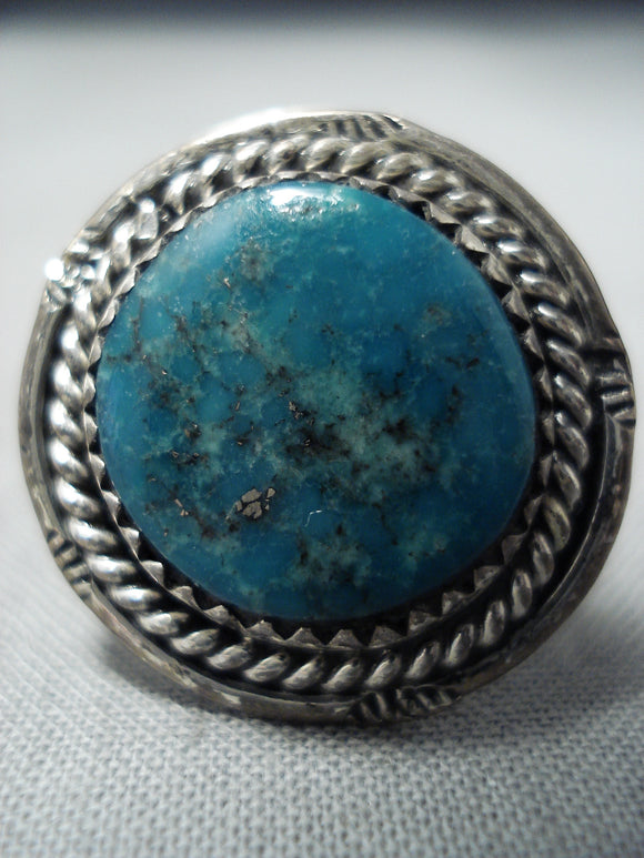 Amazing Vintage Native American Navajo Turquoise Sterling Silver Rope Ring Old