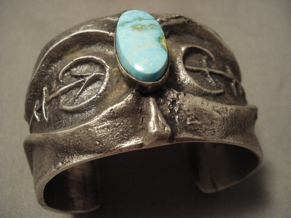 172 Grams Yes Solid Sterling Vintage Navajo Number 8 Turquoise Native American Jewelry Silver Bracelet