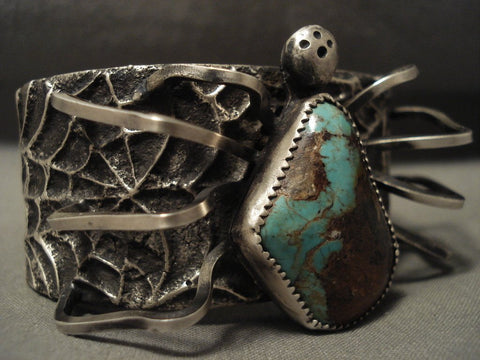 176 Grams Wow Amazing Navajo 'Royston Turquoise Spider' Native American Jewelry Silver Bracelet-Nativo Arts