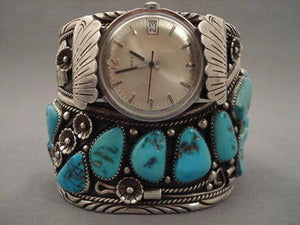 177 GRAMS SUPER HEAVY CHUNKY TURQUOISE SILVER BRACELET-Nativo Arts
