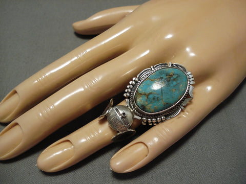 Vintage Native American Navajo Ring Green Turquoise Bennie Ration Sterling Silver Kachina