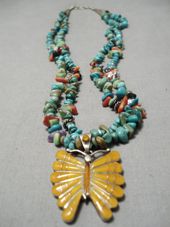 Incredible Vintage Native American Navajo Royston Turquoise Shell Sterling Silver Necklace
