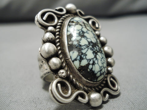 Native American One Of The Best New Lander Blue Turquoise Coral Sterling Silver Ring