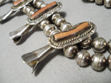 Authentic Vintage Native American Navajo Coral Sterling Silver Squash Blossom Necklace Old