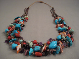 180 Grams Navajo Native American Jewelry jewelry Large Turquoise Dark Heishi Whitegoat Necklace-Nativo Arts
