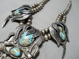 One Of The Finest Vintage Native American Navajo Turquoise Sterling Silver Leaf Necklace Old