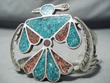 Early Vintage Native American Navajo Turquoise Coral Sterling Silver Leaf Bracelet Old