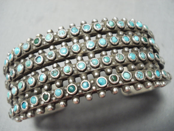 One Of The Best Vintage Native American Zuni Snake Eye Turquoise Heavy Sterling Silver Bracelet