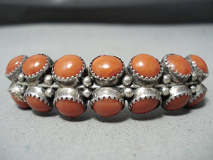 Darrell Victor Vintage Apache Native American Corals Sterling Silver Bracelet